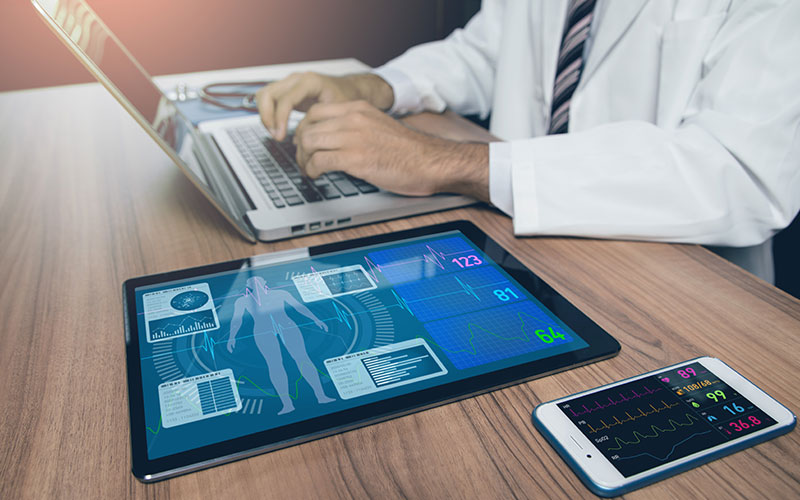 Image of health application software on a tablet device