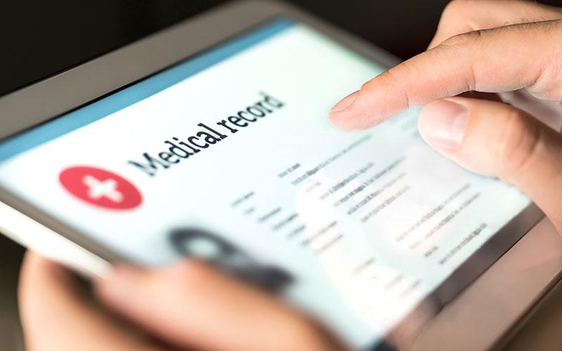 Image of medical software displayed on tablet device