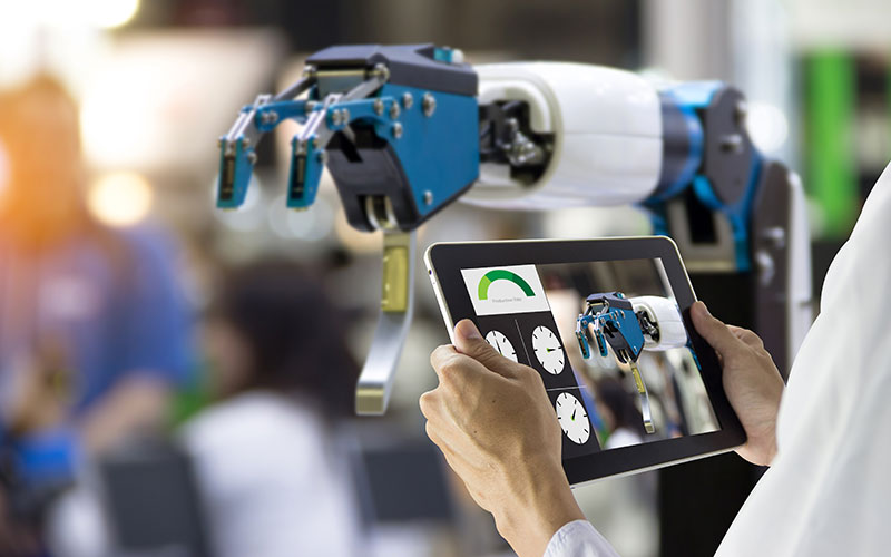 Image of robotic arm shown on tablet